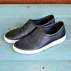 Ecco Black Leather Loafers Size 7 Perforated Style